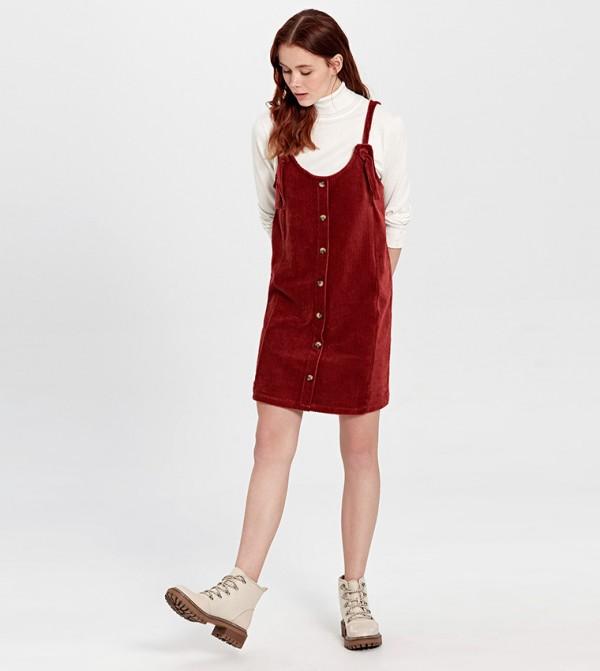 Plain Cami Top Short Overall Velvet Dress-Burnt Orange
