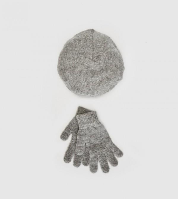 Knitwear Painter Beret And Gloves-Grey Melange