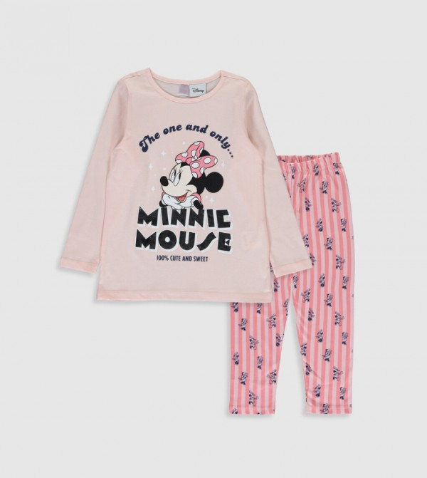 Minnie Mouse Printed Cotton Pajamas Set-Pink