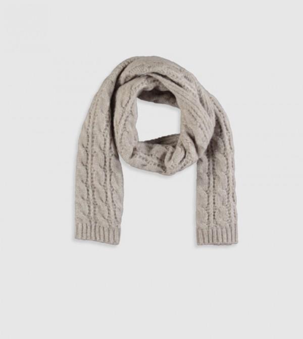 Knit Pattern Knitwear Scarf-Ecru