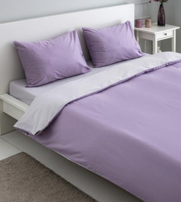 Double Double Sided Duvet Cover Set-Lilac Purple