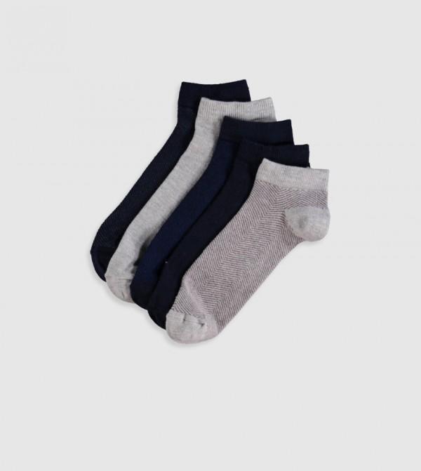 Booties Socks 5'S-Teal Blue