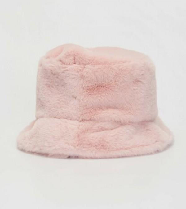 Plush Bucket Hat-Pink