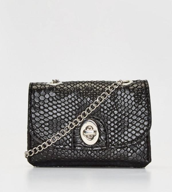 Snakeskin Looking Sleeve Bag-Black