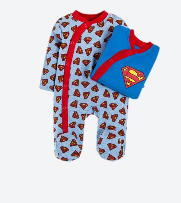 Superman Logo Printed Long Sleeve Body Suits Set (2 Pcs) - Blue