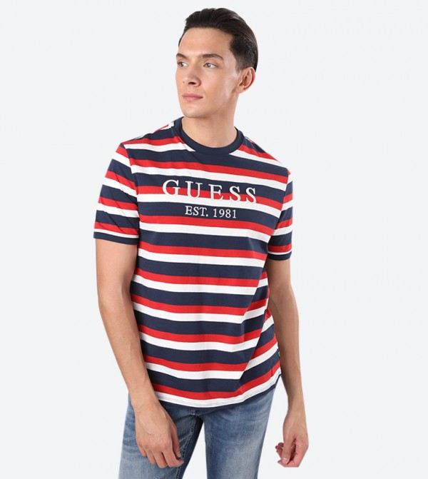 Short Sleeves Guess Est Printed T-Shirt - Red