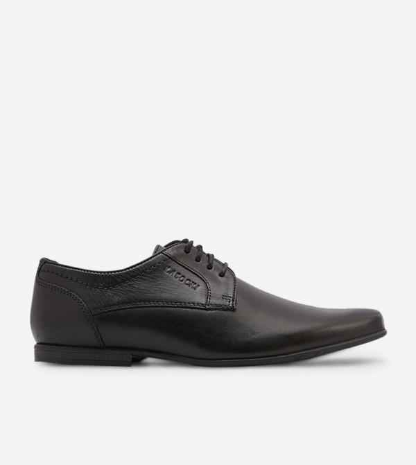 Round Toe Stitch Details Block Heel Formal Shoes - Black