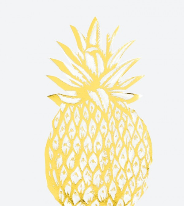 Modern Metallic Pineapple Shaped Napkins Set (12 Pcs) - Yellow