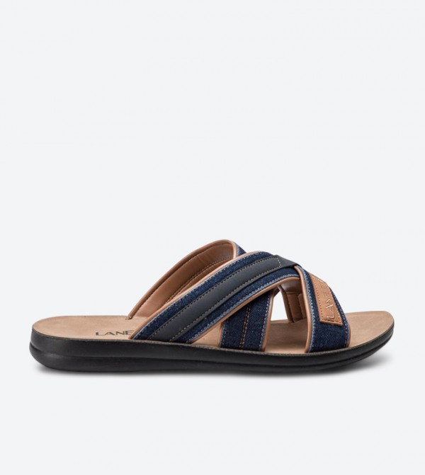 Stitching Detail Criss-Cross Strap Round Toe Slippers - Navy