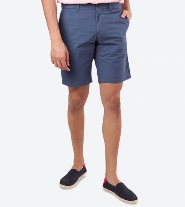 4-Pocket Closure Regular Fit Casual Shorts - Blue