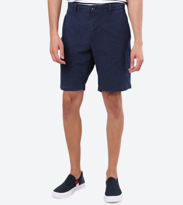 4-Pocket Closure Regular Fit Mini Short - Blue