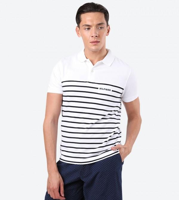 Stripe Printed Short Sleeve Classic Collar Polo Shirt - White