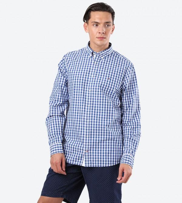 Checks Printed Button Down Collar Shirt - Blue