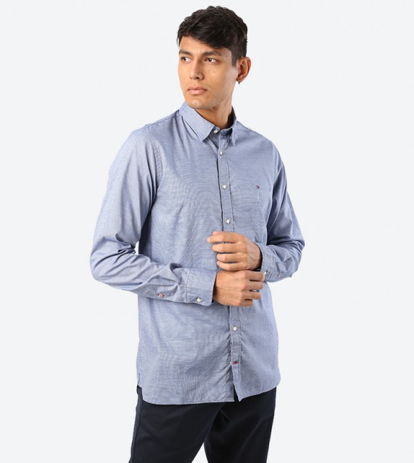 Solid Essential Dobby Long Sleeve Shirt - Blue