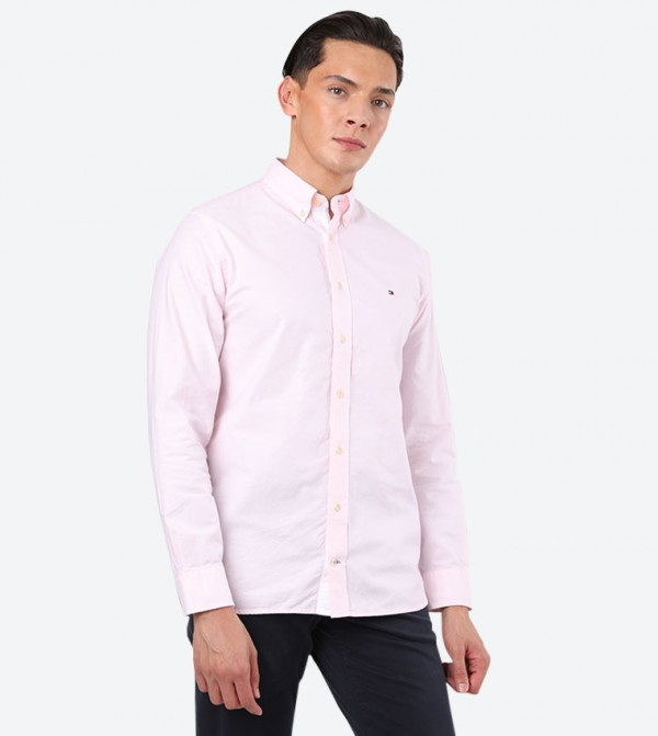 Slim Casual Chambray Button Down Collar Shirt - Pink