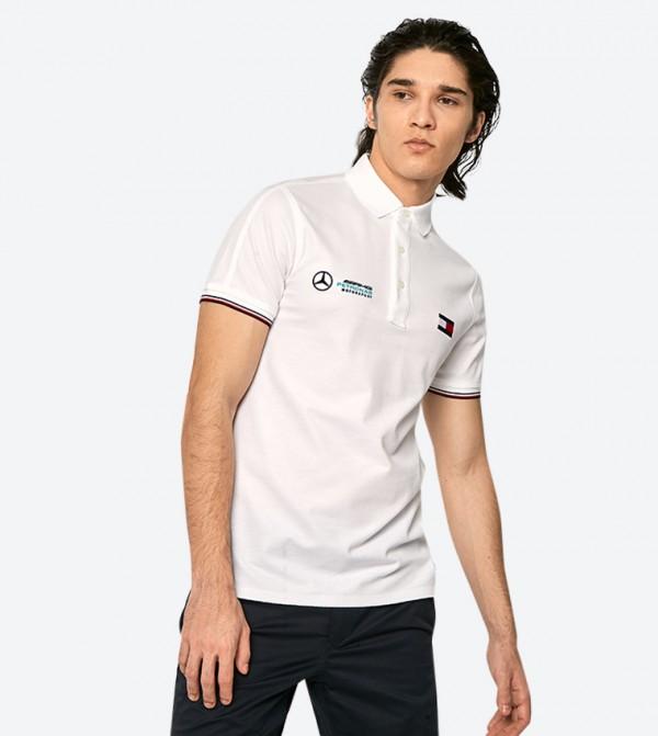 Short Sleeve Mercedes Benz Logo Detail Polo Shirt Navy