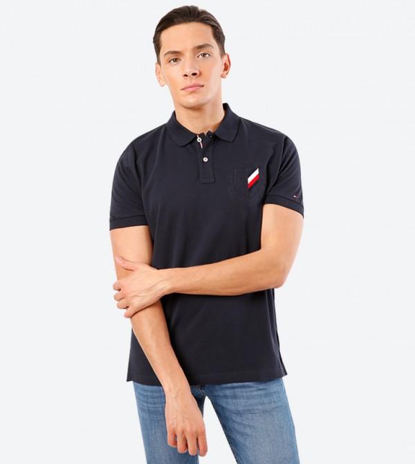 Solid Badge Short Sleeve Classic Collar Polo Shirt - Navy