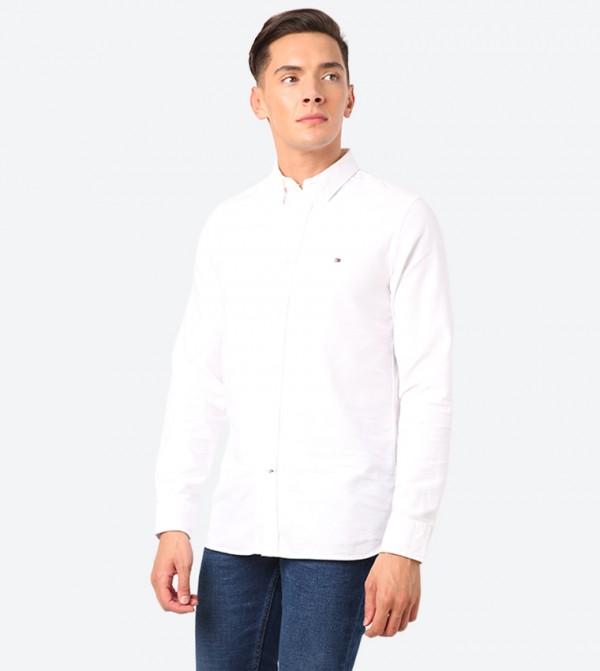 Slim Classic Dobby Long Sleeve Shirt - White