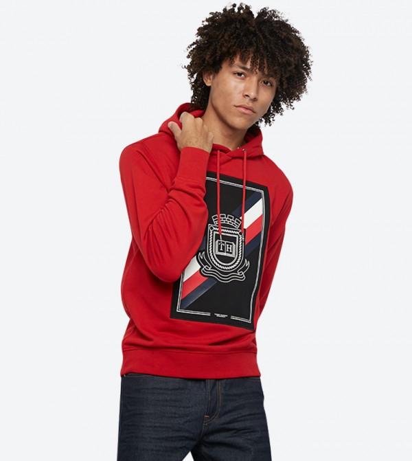 هودي بشعار تومي هيلفيغر لون أحمر