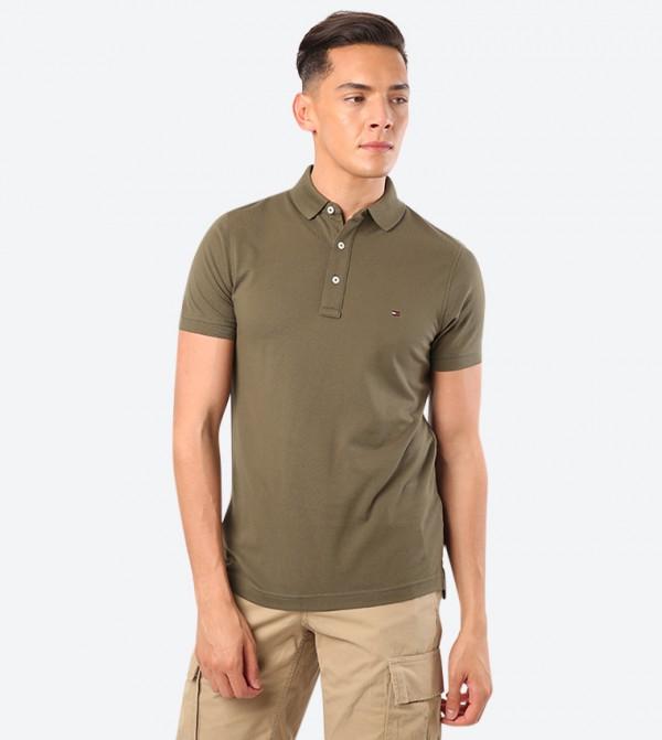 Short Sleeve Classic Collar Polo Shirt - Olive