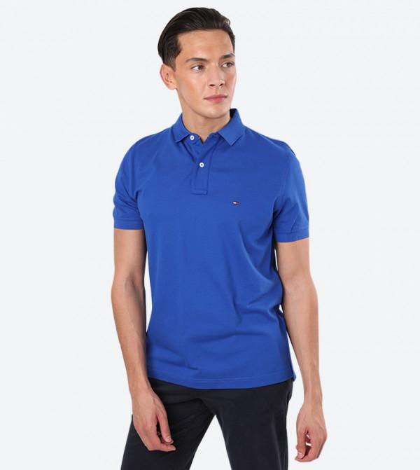 Short Sleeve Classic Collar Neck Regular Polo Shirt - Blue