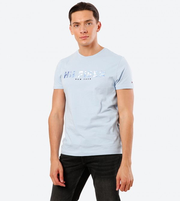 Text Printed Short Sleeve Round Neck T-Shirt - Blue