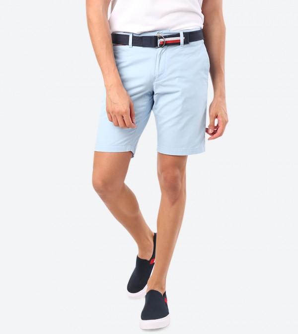 4 Pocket Button Zip Closure Shorts - Blue