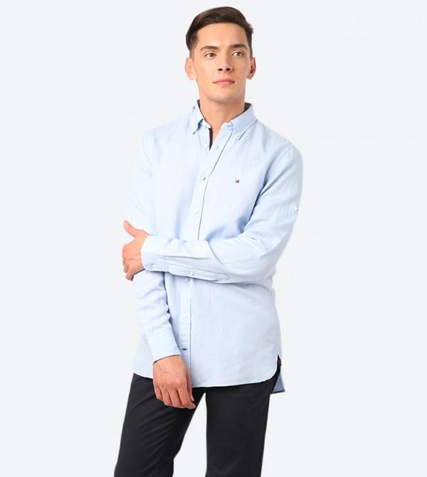 Slim Button Down Collar Long Sleeve Shirt - Blue