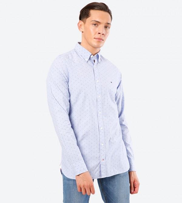 Micro Clipped Dobby Button Down Collar Shirt - Blue