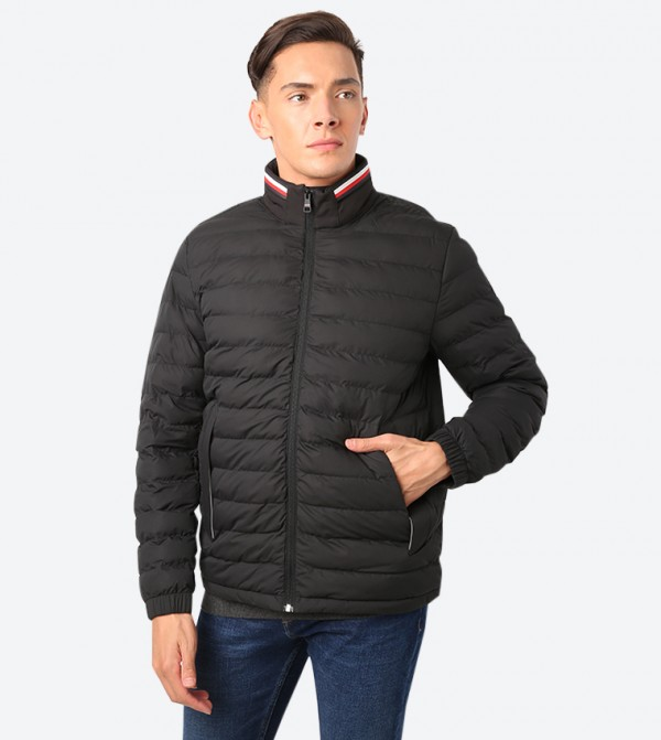 Stretchable Quilted Detail Long Sleeve Jacket - Black