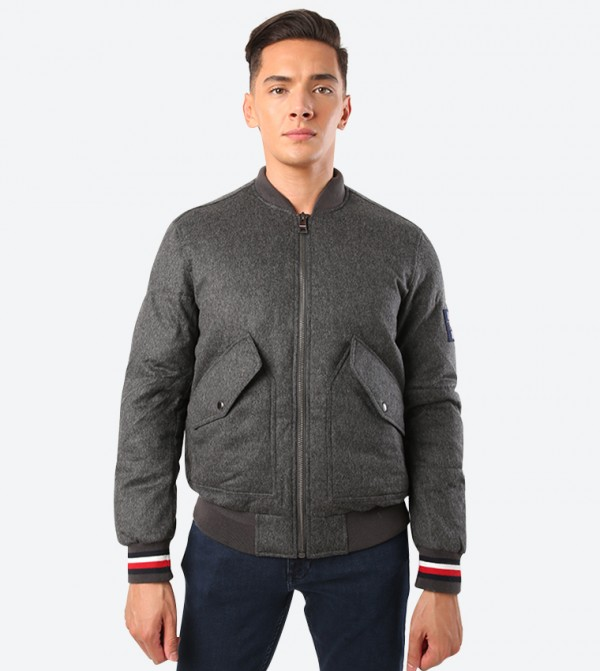 Quilted Pattern Zip Up Closure Long Sleeve Jacket - Grey