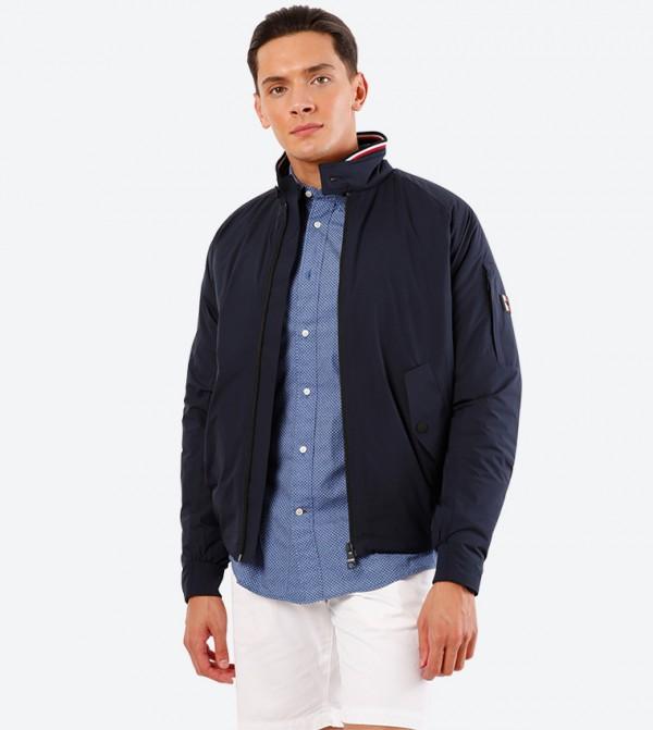 Stretch Full Zip Closure High Neck Long Sleeve Jacket - Navy