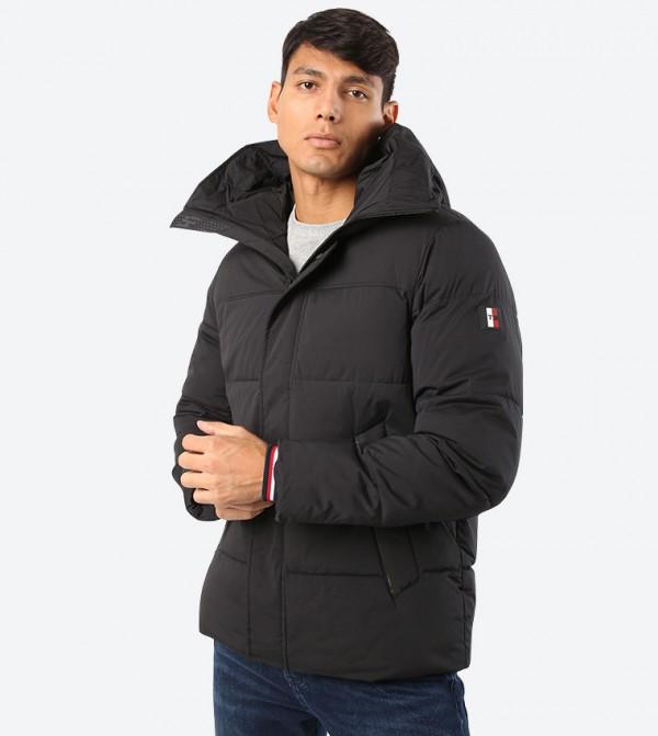 Stretchable Long Sleeve Hooded Bomber Jacket - Black