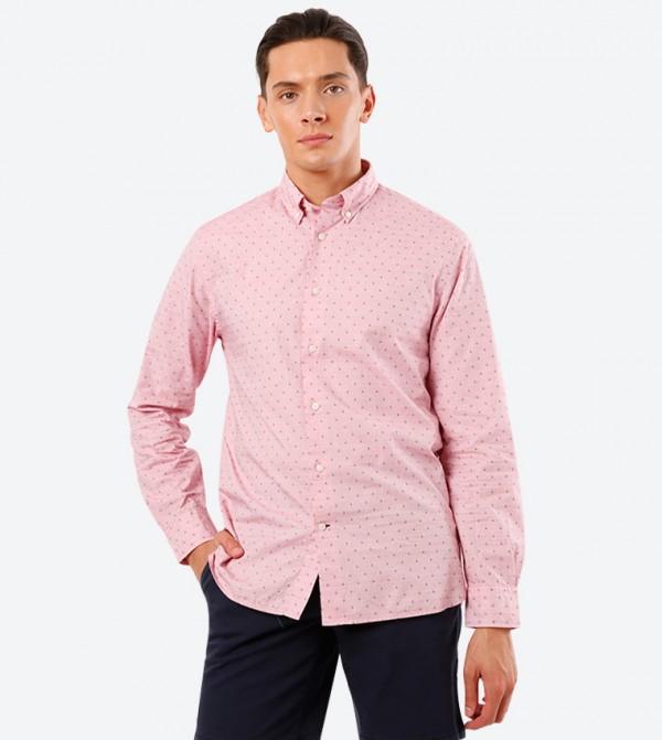 Long Sleeve Global Full Button Down Collar Shirt - Pink
