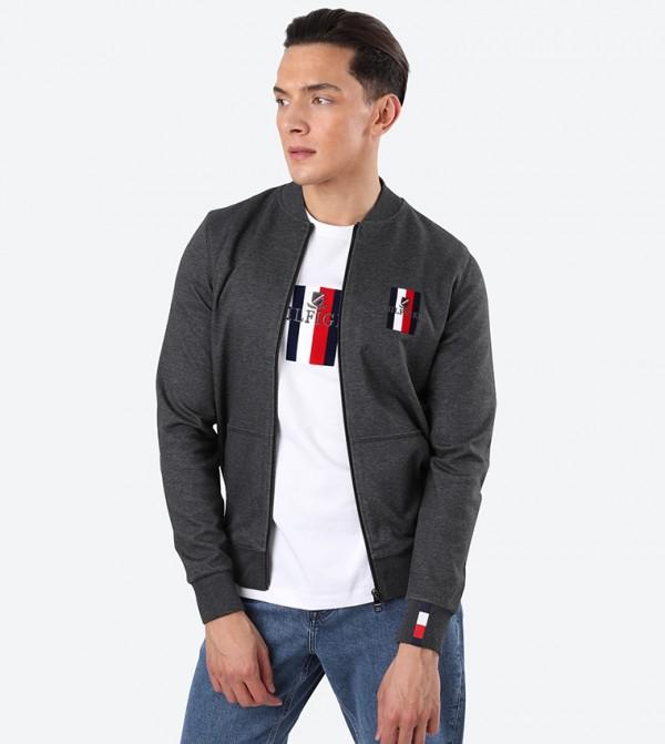 Flex Luxury Artwork Solid Open Front Jacket - Black