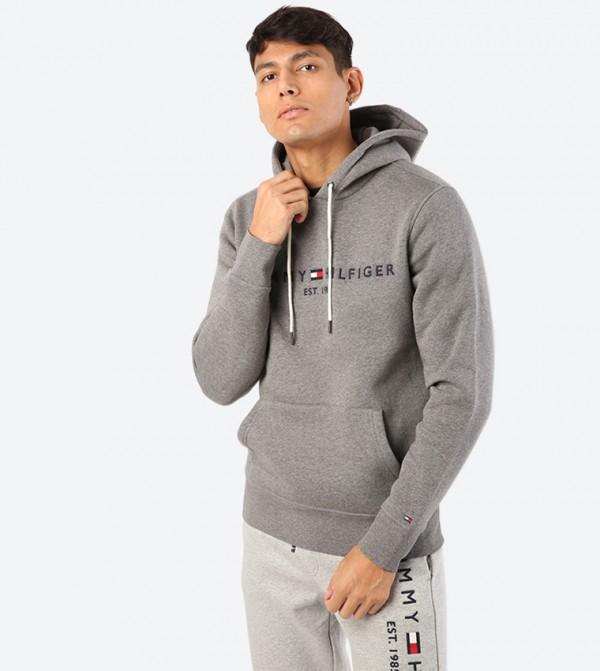 Long Sleeve Kangaroo Pocket Closure Hoodie - Grey