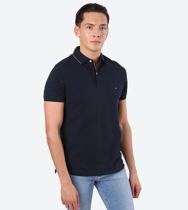 Sophisticated Structure Short Sleeve Polo Shirt - Blue