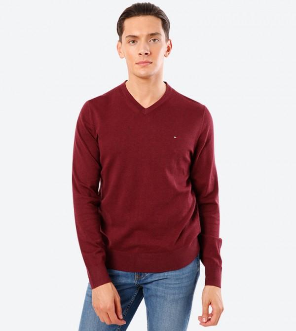 Self Design Long Sleeve V-Neck Pullover Sweater - Red