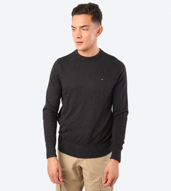 Solid Long Sleeve Crew Neck Sweatshirt - Black