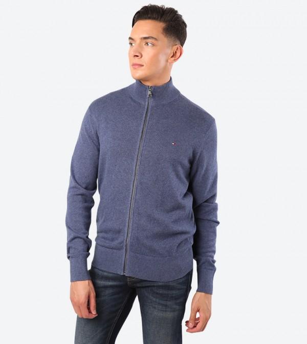 Zip Up Closure Long Sleeve High Neck Sweatshirt - Blue