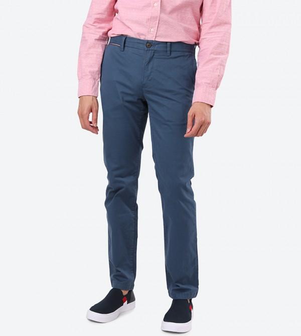 Denton 4-Pocket Regular Fit Solid Chinos - Blue