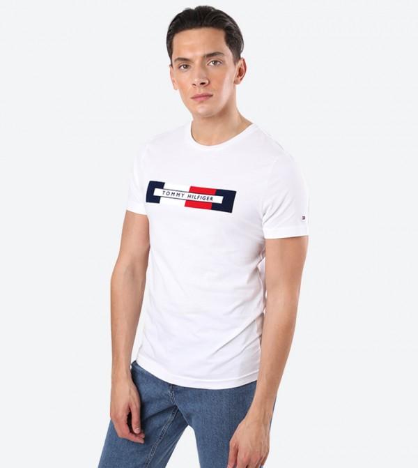 Box Logo Printed Round Neck Short Sleeve T-Shirt - White