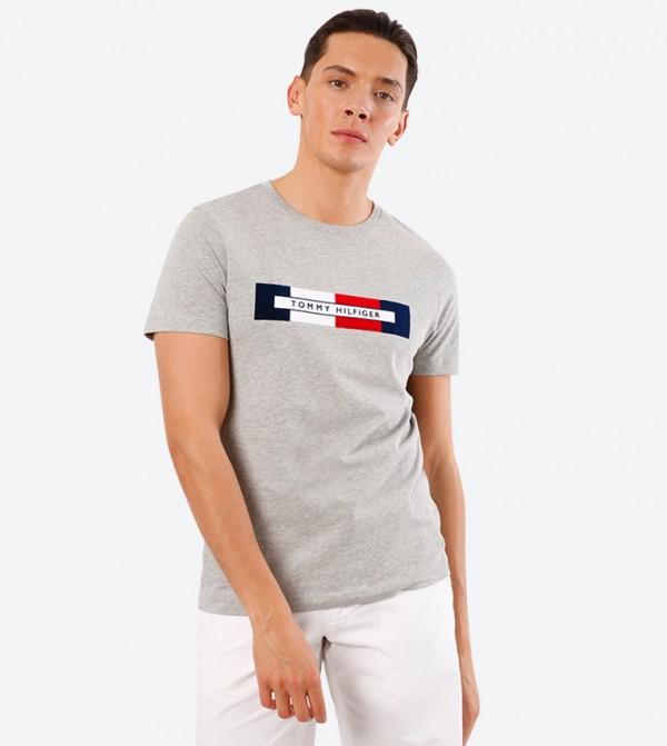 Box Logo Printed Round Neck Short Sleeve T-Shirt - Grey
