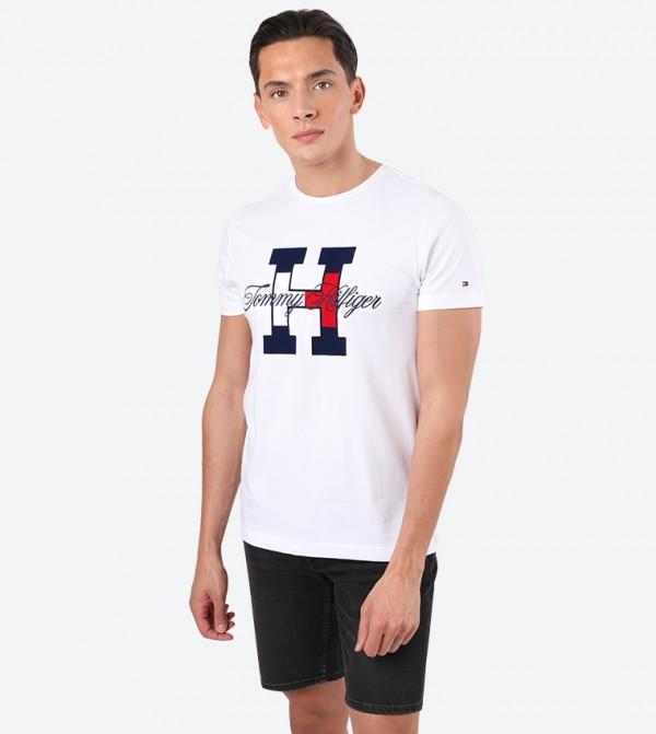 Flag Script Short Sleeve Round Neck T-Shirt - White