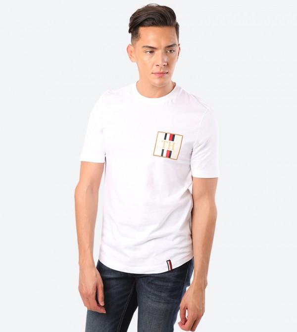 Icon Badge Graphic Printed Round Neck Short Sleeve T-Shirt - White