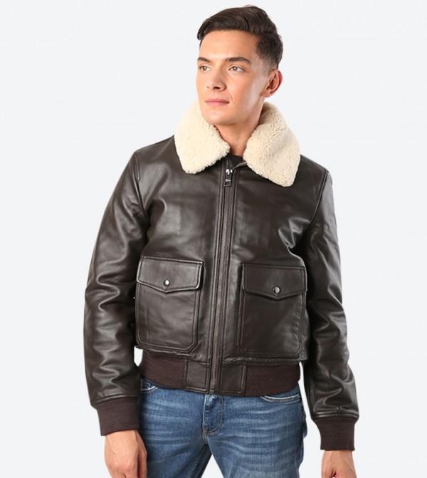 Shearling Zip Up Closure Long Sleeve Collared Jacket - Dark Brown