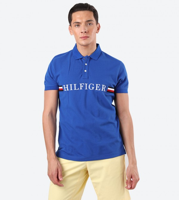 Brand Name Details Short Sleeve Classic Collar Polo Shirt - Blue