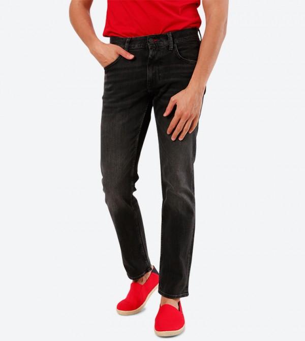 5-Pocket Button Closure Zip Closure Jeans - Black