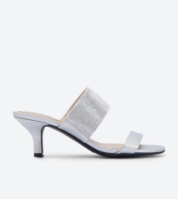 c99bac8b81d Flashy Kitten Heel Sandals - Silver NAFLASHY