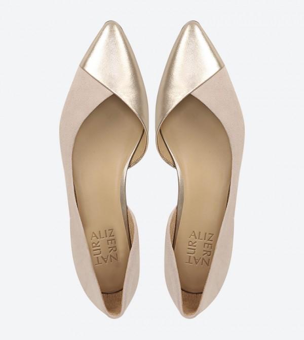 Hayden Pointed Toe Block Heel Ballerina Beige
